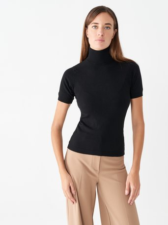 Short-sleeved polo neck top Black - CFM0009748003B001
