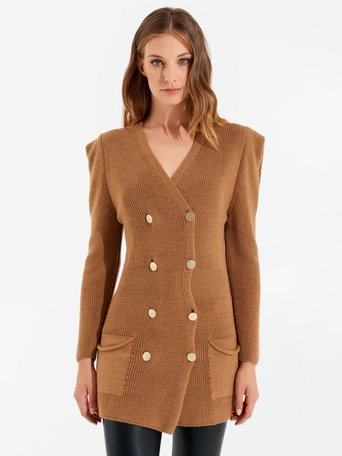 Vestido de doble abotonadura de punto Camello Beige - CFM0009787003B117