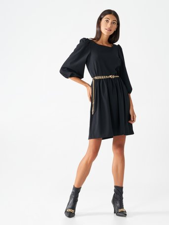 Short dress with puff sleeves Black - CFC0099453003B001