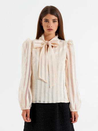 Organza blouse with bow Beige - CFC0017444002B101