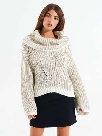 Cowl-neck jumper var white cream - CFM0009836003B438