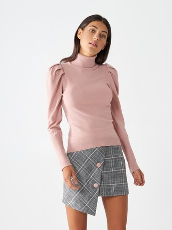Turtleneck jumper with puff sleeves Pink - CFM0009812003B221