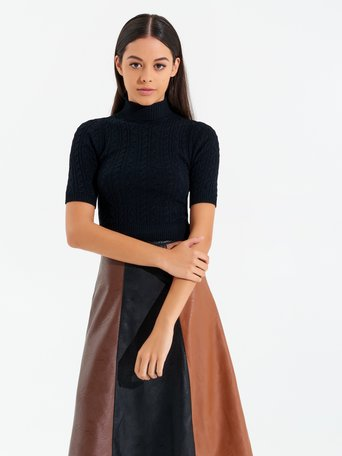 Turtleneck top with short sleeves and buttons Black - CFM0009866003B001