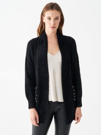 Cardigan with fur and pearl details Black - CFM0009861003B001