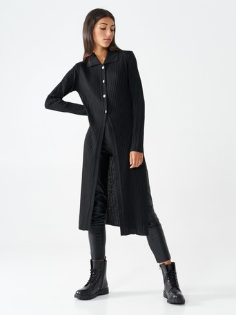 Maxi cardigan in viscose Black - CFM0009801003B001