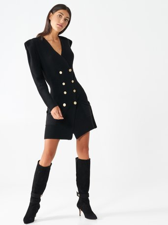 Double-breasted knit dress Black - CFM0009787003B001