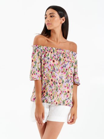 Printed Blouse with Bare Shoulders var violet lilac - CFC0099404003B503