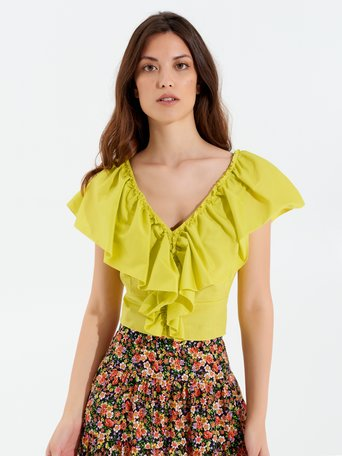 Top in Cotone con Rouches Giallo Lime - CFC0099387003B398