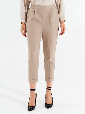 Cigarette pants with elastic waist Beige - CFC0098010003B101