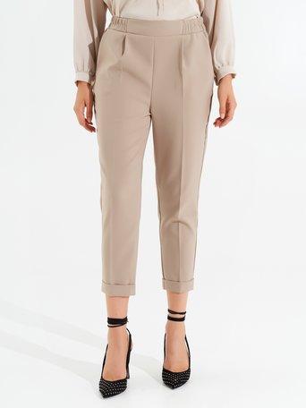 Pantaloni a Sigaretta con Elastico Beige - CFC0098010003B101