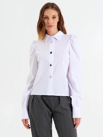 Long puff-sleeved cotton shirt White - CFC0099979003B021