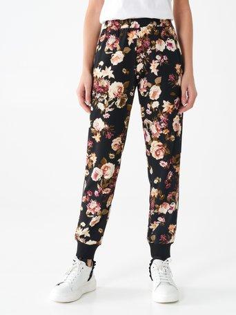 Pantalon jogger à fleurs var. Nero - CFC0099714003B473