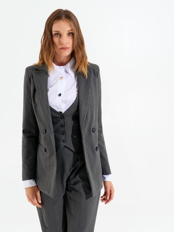 Double-breasted pinstripe jacket var grey - CFC0099546003B456