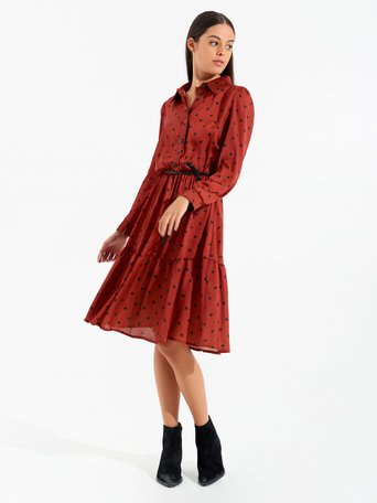 Polka dot midi dress var rust - CFC0099578003B423