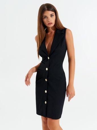 Ärmelloses Blazer-Kleid Schwarz - CFC0099502003B001