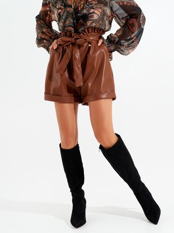 Faux leather shorts brown - CFC0099808003B402