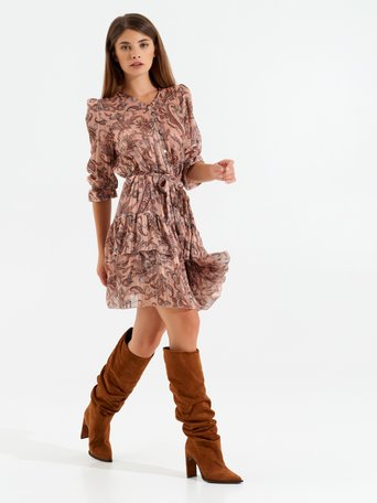 Paisley print mini dress var rust - CFC0099613003B423