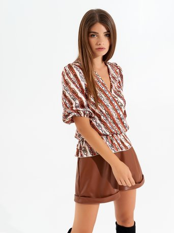 Retro crossover blouse var brown - CFC0099628003B466