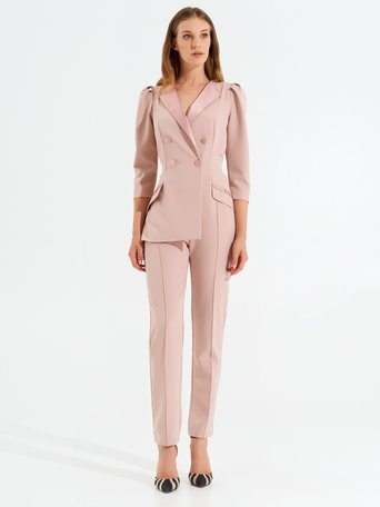 Double-breasted suit with satin lapels and buttons Pink - CFC0099569003B221