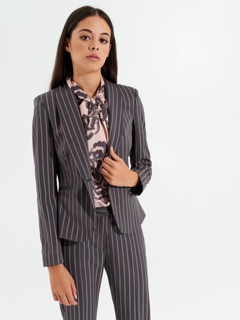 Fitted pinstripe jacket var grey - CFC0099973003B456