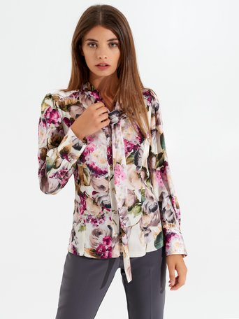 Floral blouse with tie collar var. Pink - CFC0099737003B476