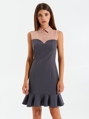 Two-tone sheath dress var grey - CFC0099959003B456