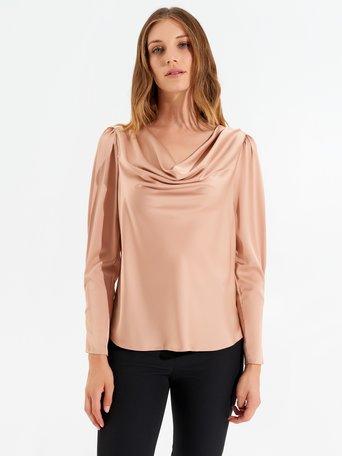 Blusa con escote drapeado Rosa Cipria - CFC0099899003B385