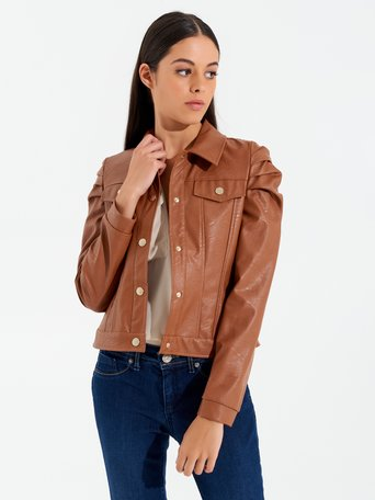 Faux leather stud jacket brown - CFC0099789003B402
