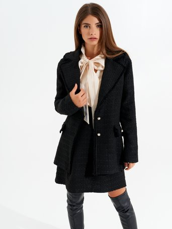Fitted tweed jacket Black - CFC0099593003B001