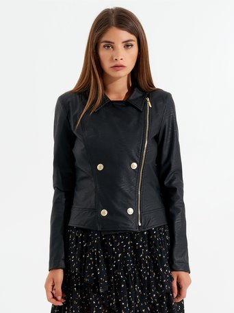 Faux leather biker jacket Black - CFC0099792003B001
