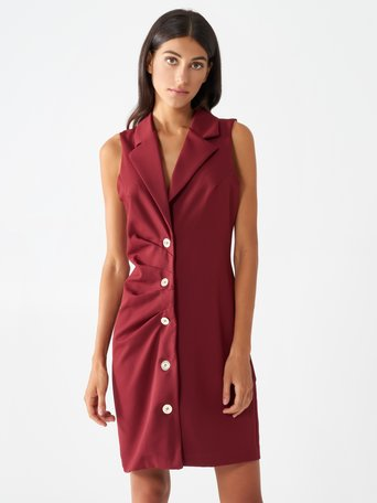 Sleeveless blazer dress Bordeaux - CFC0099502003B098