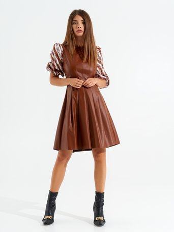 Short Leatherette Dress brown - CFC0099541003B402