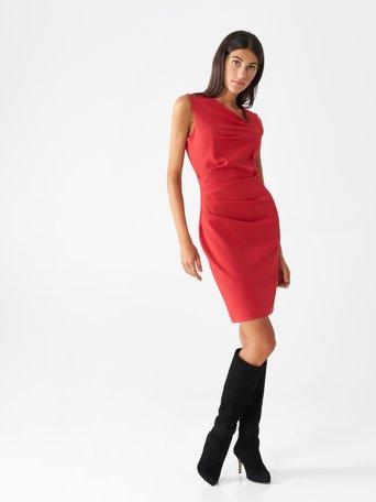 Robe fourreau drapée Rouge - CFC0099503003B081