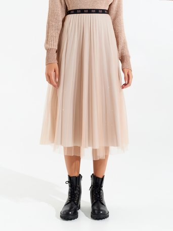 Gonna Midi in Tulle Rosa - CFC0099988003B221