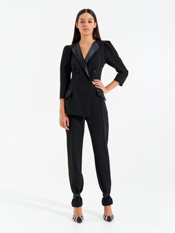 Double-breasted suit with satin lapels and buttons Black - CFC0099569003B001