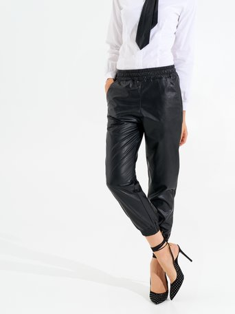 Faux leather joggers Black - CFC0099568003B001