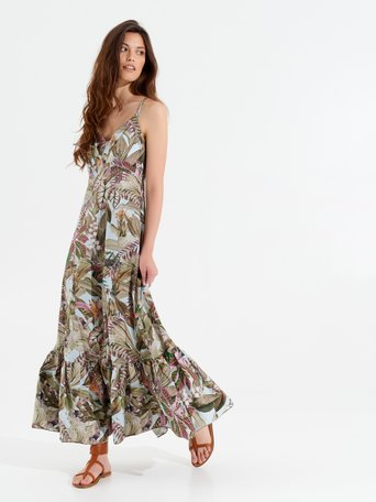 Long Tropical Print Dress var green - CFC0100119003B492