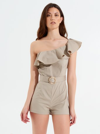 Short One-shoulder Jumpsuit Beige - CFC0100132003B101