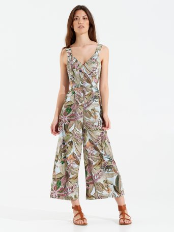 Tropical Print Cotton Jumpsuit var green - CFC0100124003B492