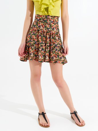 Viscose mini skirt in floral print var black - CFC0099462003B473
