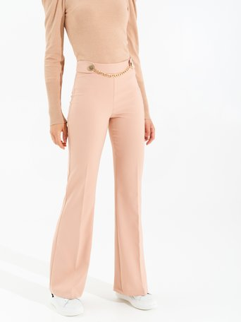 Wide leg trousers with chain Rosa Cipria - CFC0017487002B385