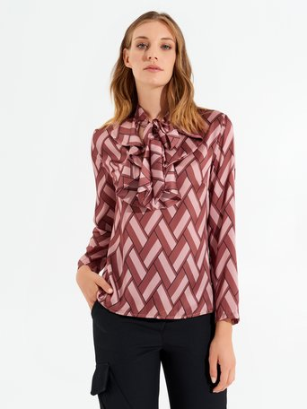 Printed blouse with bow var. Pink - CFC0017489002B476