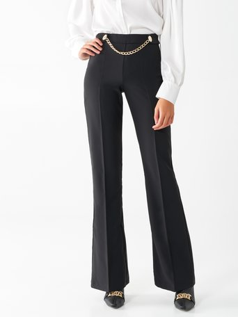 Wide leg trousers with chain Black - CFC0017487002B001