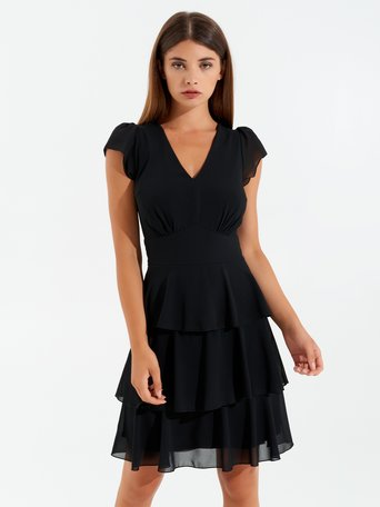 Dress with frilled skirt Black - CFC0100374003B001