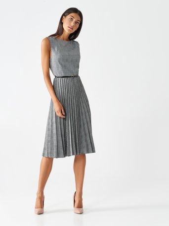 Pleated houndstooth dress var grey - CFC0100625003B456