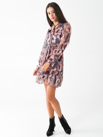 Short floral dress var grey - CFC0100805003B456