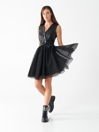 Tulle and faux leather dress Black - CFC0100646003B001