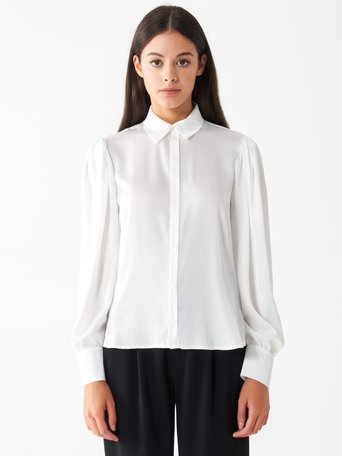 Shirt with long puff sleeves White Cream - CFC0100845003B036