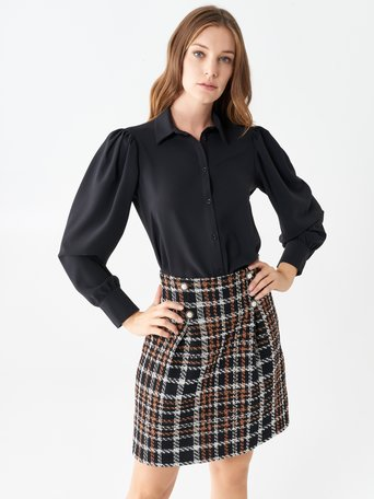 Shirt with long puff sleeves Black - CFC0100845003B001