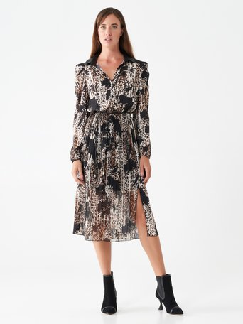 Wild-print midi dress Brown - CFC0100731003B121